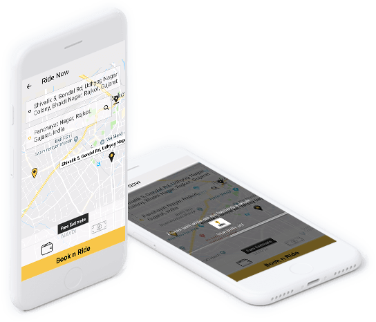 Home screen to book a ride(pickup and drop off location)